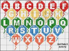 Balloon ABC Primary Colors (A-Z) eixem seus comentários - Dinha Ponto Cruz - bem vindos d