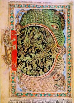 'An Archangel Locks the Hellmouth.'   A page from THE WINCHESTER PSALTER.   English 12th-century illuminated manuscript.  Probably made for use in Winchester, most agree the likely patron was Prince Henry of Blois, Bishop of Winchester from 1129 until his death in 1171. per wiki.  British Library. What's a hellmouth?   http://en.wikipedia.org/wiki/Hellmouth Scary Medieval Stuff! Great Halloween image. Photo enhanced for detail. - pfb