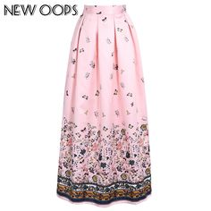 278920bfeeb3 US $31.99 |NEW OOPS Women Clothing High Waist Skirt 2018 100 cm Vintage  Floral Printed Pleated Floor Length Long Skirts Saias A1605014-in Skirts  from ...