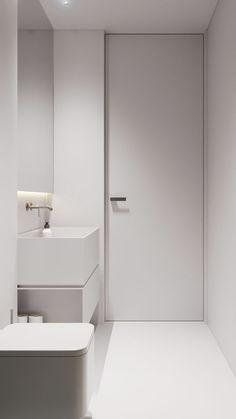 Wooden Home Decor white minimal bathroom. Home Decor white minimal bathroom. White Minimalist Bathrooms, Minimalist Baths, Minimal Bathroom, Minimalist Interior, White Bathroom, Minimalist Home, Modern Bathroom, Small Bathroom, Bathroom Bath
