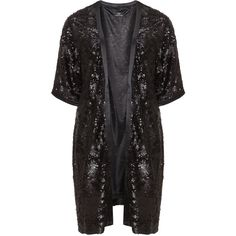 Kirsten Krog Black Plus Size Long sequined kimono ($300) ❤ liked on Polyvore featuring black and plus size