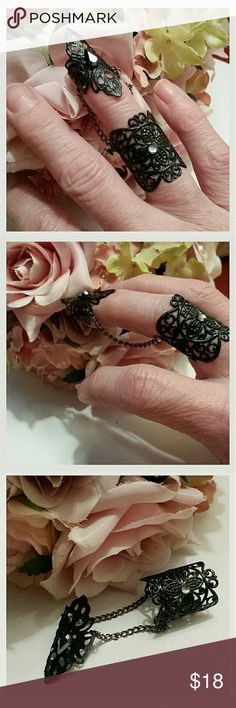 Black Night Elven Finger ring Black Night elven finger ring with Swavorski crystals. Double filigree rings: one lower and one on finger tip. Connected by brass chain. Each of the two rings is bendable to fit fingers. Jewelry Rings