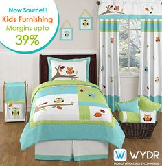 Now source kids furnishings from #Wydr Wholesale E-Commerce App. Get #bedsheets, curains, cushion covers and lots more with popular cartoon and comic characters.