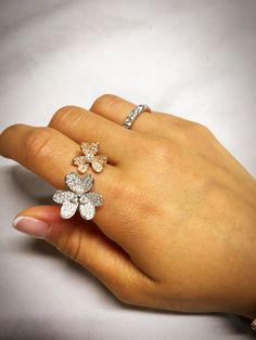 diamonds in white and rose gold floral design ring expertise in detailed fine jewelry aakimsjewelry@gmail.com Diamond Rings, Diamond Jewelry, Gold Jewelry, Fine Jewelry, Pandora Charms Rose Gold, Magical Jewelry, Open Ring, Ring Earrings, Beautiful Rings