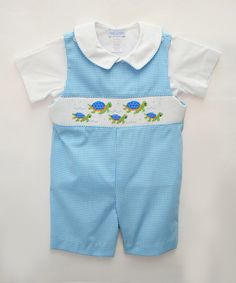 Look at this Vive La Fête Blue Sea Turtle Shortalls & White Top - Toddler on #zulily today!