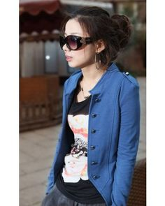 Blue Shoulder Mark Stand Collar Long Sleeve Double-Breasted Short Cotton Coat Indressme$23.22