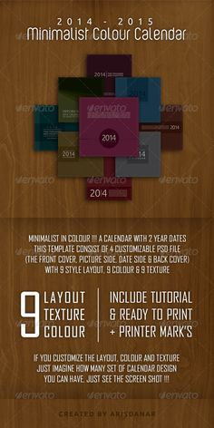 2014  2015 Desk Calendar with Minimalist Colour Features: a. Size: 8,5 Inch X 8,5 Inch CMYK with Printers marks, Adobe Photoshop