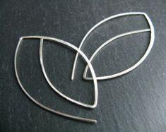 Silver leaves Modern minimalist open hoops by minimalgeometric