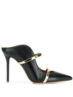 Black and gold toned leather Maureen 100 mules from Malone Souliers by Roy Luwolt. Malone Souliers, S Signature, Pumps, Heels, Calf Leather, Heeled Mules, Calves, Women Wear, Footwear