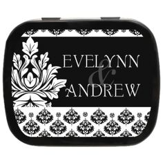 Wedding Damask Personalized Mint Tins, enhance your theme with custom #ediblefavors #weddingfavors #timeless