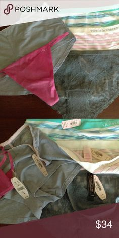 NWT VS BUNDLE All new with tags, Victoria's Secret panty bundle, all size Medium. On left: Gray shorties, pink v-string. On right from top: two hiphugger seamless, gray lace bikini. Victoria's Secret Intimates & Sleepwear Panties