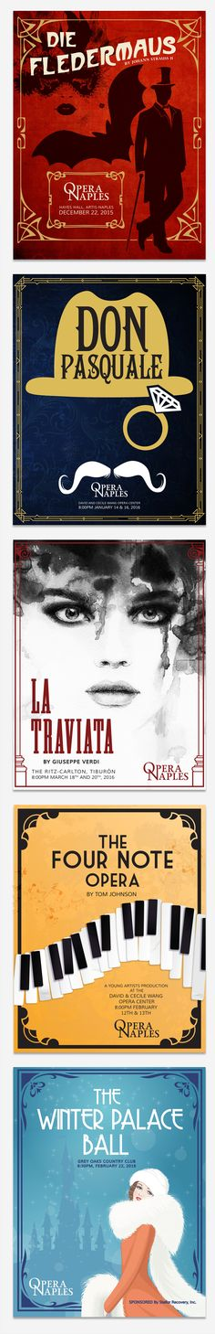 Opera Naples Poster Designs by Amanda Lee - Die Fledermaus, Don Pasquale, La Traviata, The Four Note Opera, and The Winter Palace Ball - LW Marketing & Consulting