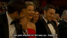 …because Ellen called her out for falling last year. | Jennifer Lawrence's 19 Best Moments At The Oscars