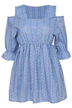 ROMWE | Dual-tone Blue Off Shoulder Dress, The Latest Street Fashion #ROMWE