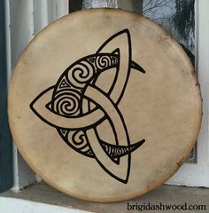Celtic Moon Bodhran Drum Hand painted by BrightArrow on Etsy