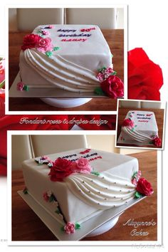 Classic theme for cake with roses & drapes