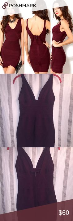 Akira Burgundy Bandage Dress Size Large Gorgeous Akira bandage dress. Size large in excellent condition. Great fabric and material. AKIRA Dresses Mini