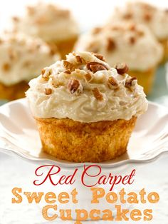 Red Carpet Sweet Potato Cupcakes (Giveaway) recipe from The Country Cook. These are made with a muffin mix!! Lots of ways this could be changed up too. Oh and that frosting!! To die for!