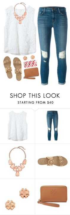 """""""{back to school outfit idea: white lace}"""" by jordanawarren ❤ liked on Polyvore featuring Zara, J Brand, Kendra Scott, Jack Rogers and Tory Burch"""