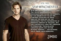 I took Zimbio's 'Supernatural' quiz and I'm Sam Winchester! I think I'm actually more Dean but the questions about my nerdy side got me Sammy Supernatural Quotes, Supernatural Fandom, Castiel, Supernatural Episodes, Dean Winchester, You Are Smart, Demon Hunter, Super Natural, Crowley