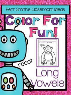Long Vowel Fun! Color For Fun Printable Coloring Pages! This Color For Fun is Perfect for Any Long Vowel Unit! #Free Long Vowel Coloring Page in the Preview Download for You To Try During Your Long Vowel Lessons Before You Buy. {70 coloring pages equals less than 10 cents a page.} #TPT $Paid