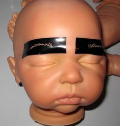 "Eyebrows on your Reborn OOAk dolls as easy as one -two-three with these stencils. This is probably the hardest part of reborning a baby doll for most ladies. This is a template that consists of 12 different eyebrows in 4 sets for $12.00 shipping included- Search Ebay for ""Reborn Eyebrow stencils"" or email me at Clamkinman@comcast.net"