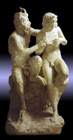 Pan teaching his eromenos, the shepherd Daphnis, to play the pipes, 2nd century AD Roman copy of Greek original ca. 100 BC, found in Pompeii