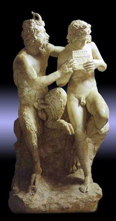 Pan teaching his eromenos, the shepherd Daphnis, to play the pipes, 2nd century AD Roman copy of Greek original ca. 100 BC, found in Pompeii