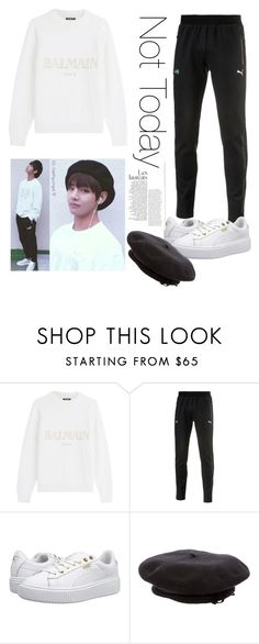 """""""Taehyung Inspired Puma Outfit"""" by xparkkaylax ❤ liked on Polyvore featuring Balmain, Puma and Sonia Rykiel"""