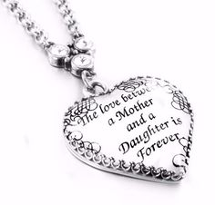 Mother Daughter Necklace, Daughter Mother Jewelry, Inspirational Pendant, Heart Pendant, Pendant for Mother and Daughter, Heart Necklace - Blackberry Designs Jewelry