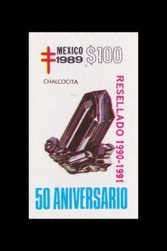 Sello: Minerales. Pais: México. Año: 1989 - 50 aniversario. Valor 100 pesos mexicanos (1 peso mexicano = 0,0452 €). Descripción: CHALCOCITA.