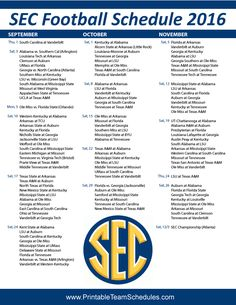 SEC College Football Schedule 2016 Print Here - http://printableteamschedules.com/collegefootball/secfootball.php