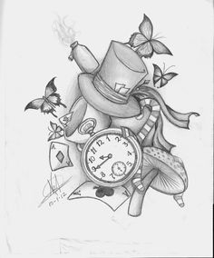 Cluster of alice things. Hatters hat, tea pot, cookies and bottles of juice, Cheshire cat, cards, stopwatch, etc