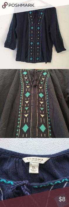 Sonoma, Peasant Boho 3/4 Sleeve Blouse Slate blue/gray color top with turquoise and white embroidered patterns and drawstring color. Cute Peasant style. XL Sonoma Tops Blouses