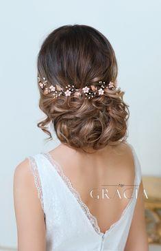 KORE Blush Rose Gold Bridal Flower Tiara Crown Flower Girl Headband by TopGracia