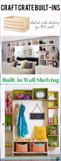 DIY Wood Crate Built in Shelving Instructions - DIY Wood Crate Furniture Ideas Projects