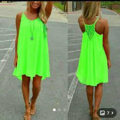 ? SALE ? ?? ?? ARRIVAL ?? Casual Party Dress Casual Party Dress - Size Large - Fluorescent Green - New in package - No trades Dresses Mini