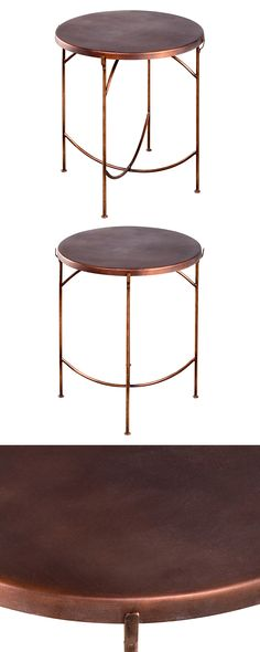 Set the mood in a chic industrial or quirky transitional living space with this Vienna Occasional Table bathed in a stunning antiqued copper finish. This gorgeous table boasts a round cap reclaimed iro...  Find the Vienna Occasional Table, as seen in the Our Favorite Industrial Designs Collection at http://dotandbo.com/collections/our-favorite-industrial-designs?utm_source=pinterest&utm_medium=organic&db_sku=120517