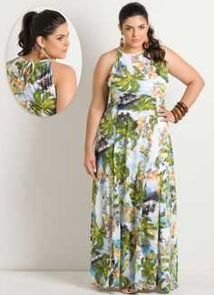 Vestido Longo Estampa Folhas Plus Size - Posthaus
