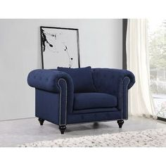 Shop for Meridian Chesterfield Blue Tufted Linen Chair. Get free shipping at…