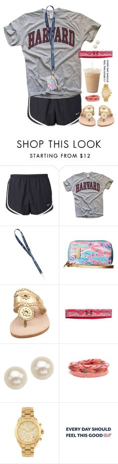"""""""Lazy school days"""" by aweaver-2 on Polyvore featuring NIKE, Lilly Pulitzer, Jack Rogers, Under Armour, Honora, Aid Through Trade and Michael Kors"""
