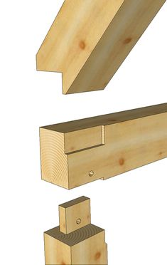 A typical timber frame joint where a rafter meets a plate is called a birds mouth and this is a great isometric rendering of this type of joinery.