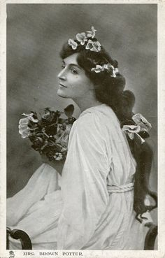 Original vintage hand tinted real photo postcard - Actress mrs. Brown Potter with beautiful hair - Victorian Paper Ephemera