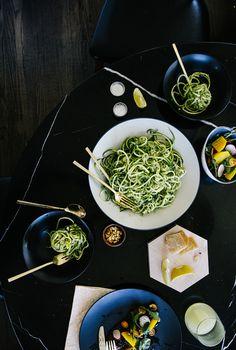 {Zucchini pasta with mint-pea pesto.}