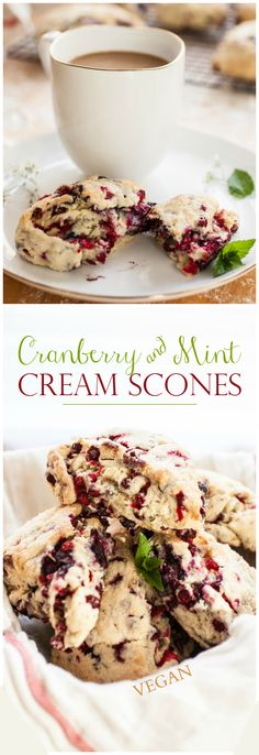 Dairy free - Vegan - Produce On Parade - Cranberry & Mint Cream Scones - These flaky, mildly sweet, and deliciously creamy scones are filled with fresh mint and tart cranberries. Top Recipes, Vegan Recipes, Cooking Recipes, Scone Recipes, Vegan Sweets, Vegan Desserts, Biscuits, Mint Creams, Cream Scones