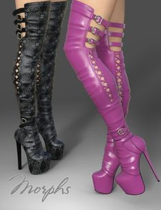 Boots are actually stylish and there is wide option from flat-heels to stilettos… - Kniehohe Stiefel Thigh High Boots Heels, Stiletto Boots, Hot High Heels, Platform High Heels, Heeled Boots, Talons Sexy, Sexy Boots, Pink Boots, Ballerinas