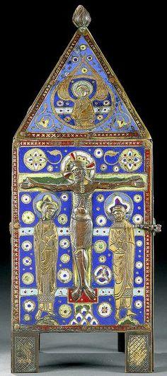 Limoges smalto champlevé dorato tabernacolo di rame, fine del 12 ° / inizio 13 ° secolo