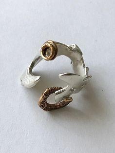 Anello aperto in argento e bronzo