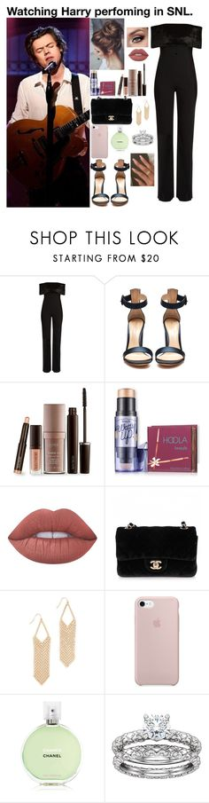 """""""Watching Harry perfoming in SNL."""" by tatabranquinha ❤ liked on Polyvore featuring Galvan, Gianvito Rossi, Laura Mercier, Lime Crime, Chanel, Adia Kibur, OneDirection, outfit and harrystyles"""