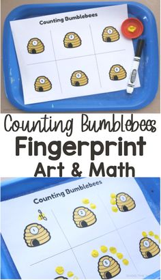 Have fun exploring different math concepts with this bumblebee fingerprint art activity! Math Activities For Kids, Number Activities, Fun Math, Maths, Fingerprint Art, Paint Supplies, Hands On Learning, Math Concepts, Yellow Painting